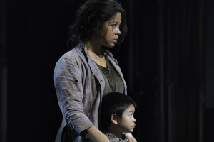 Miss-Saigon-Eva-Noblezada-as-Kim-with-William-Tao-as-Tam-Photograph-by-Michael-Le-Poer-Trench